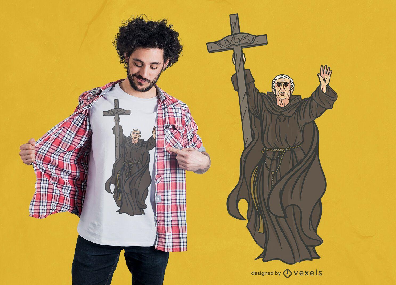 Design de camiseta com ilustração de monge