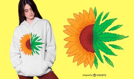 Design de camiseta de erva daninha de girassol