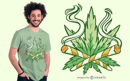 Design de t-shirt com junta cruzada de folha de cânhamo