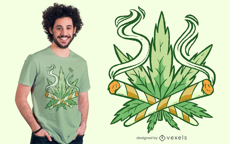 Diseño de camiseta con junta cruzada de hoja de cáñamo