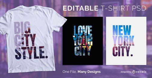Diseño de camiseta de texto de Big City PSD
