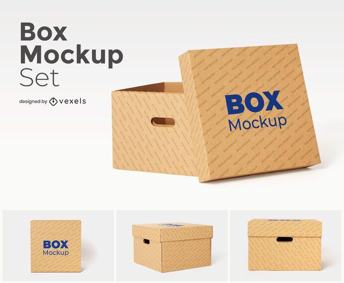 Cardboard box with handle mockup set