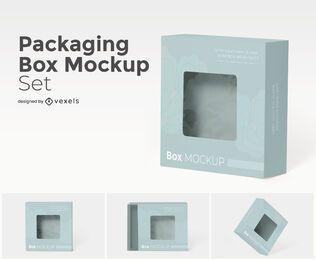 Conjunto de maquete de caixa de embalagem