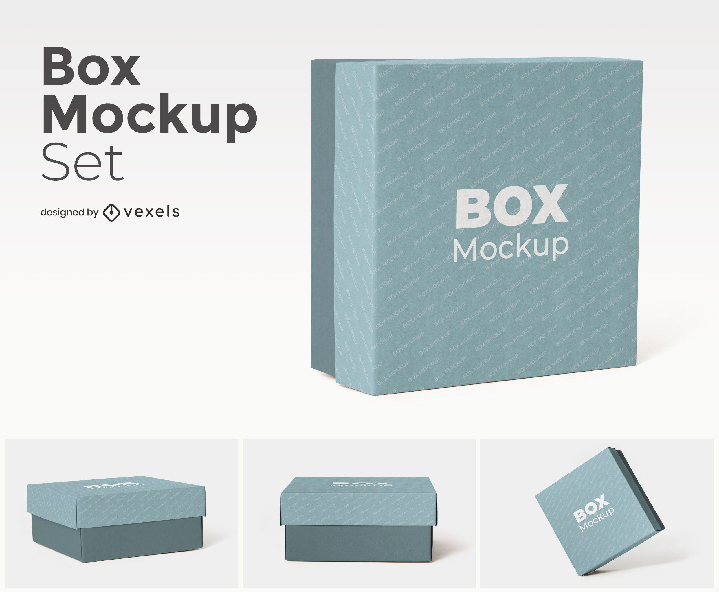 Square box mockup set