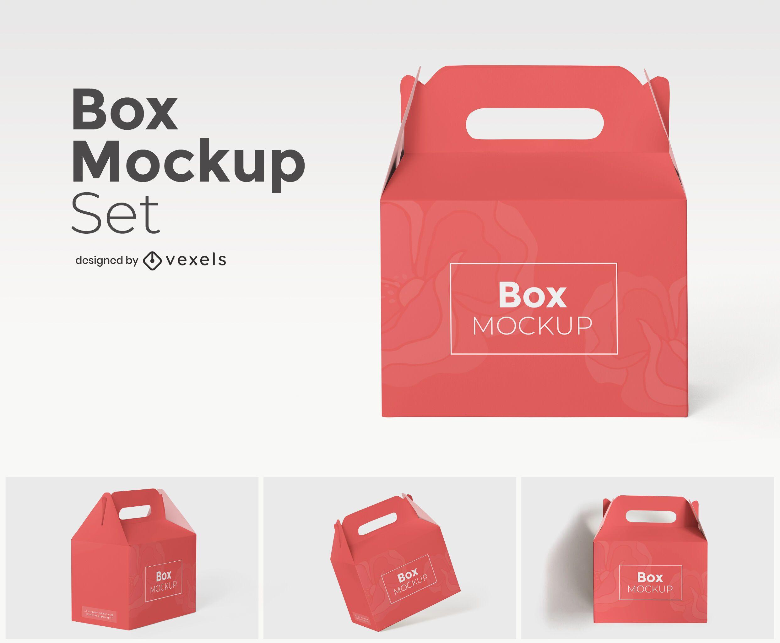 Box with handle mockup set