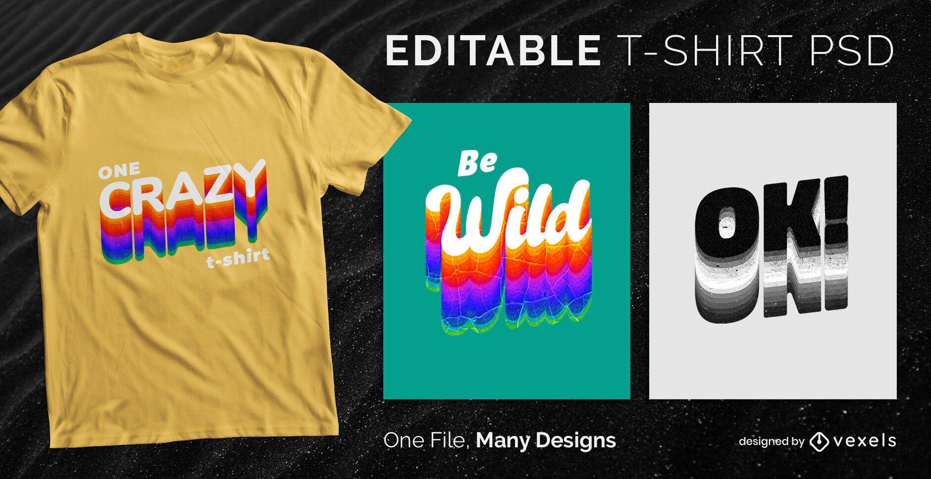 Color Shadow Text T-shirt Design PSD