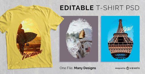 Camiseta PSD escalável com impressão digital editável