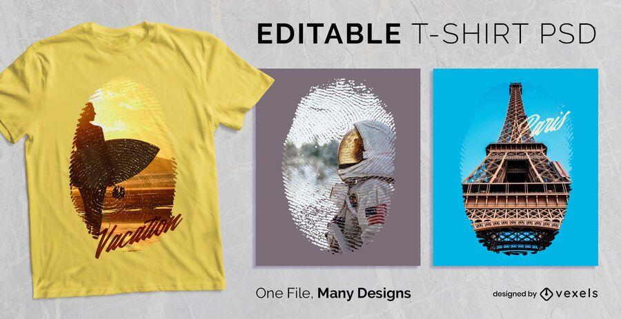Editable huella digital escalable camiseta PSD