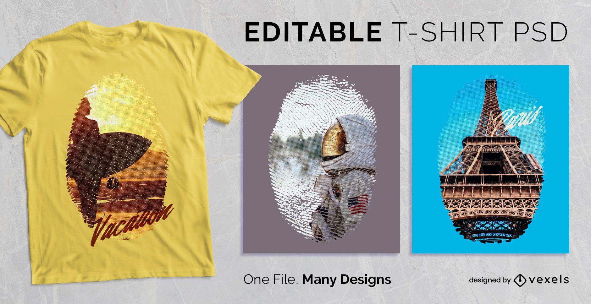 Editable Fingerprint Scalable T-shirt PSD