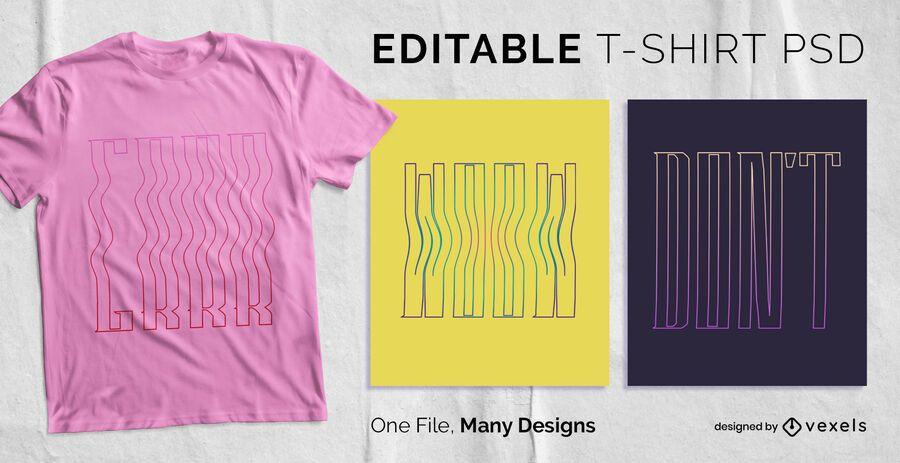 Diseño de camiseta de texto de trazo alto PSD