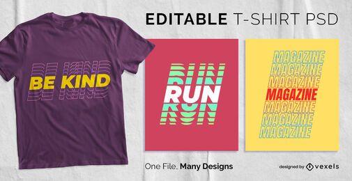 Diseño de camiseta de texto de múltiples sombras PSD