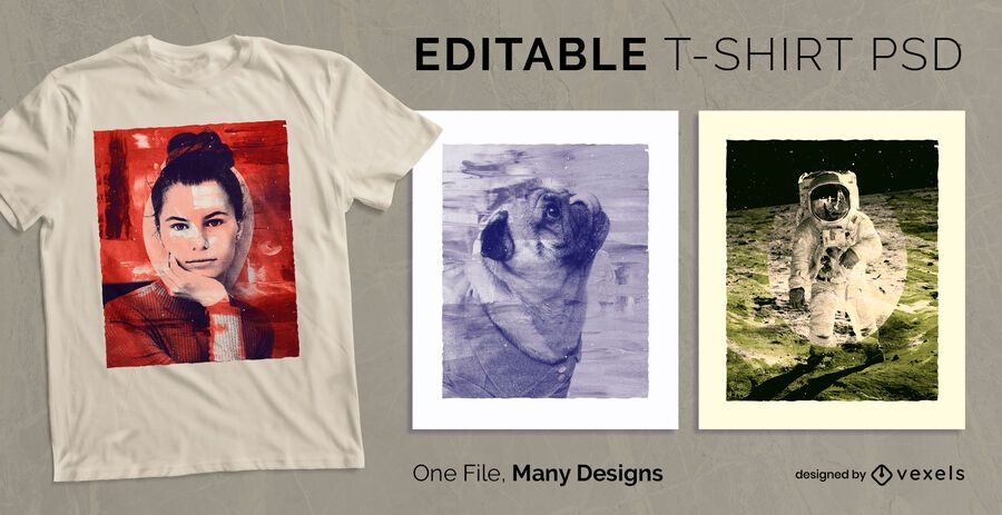 Pintura estilo escalável t-shirt PSD