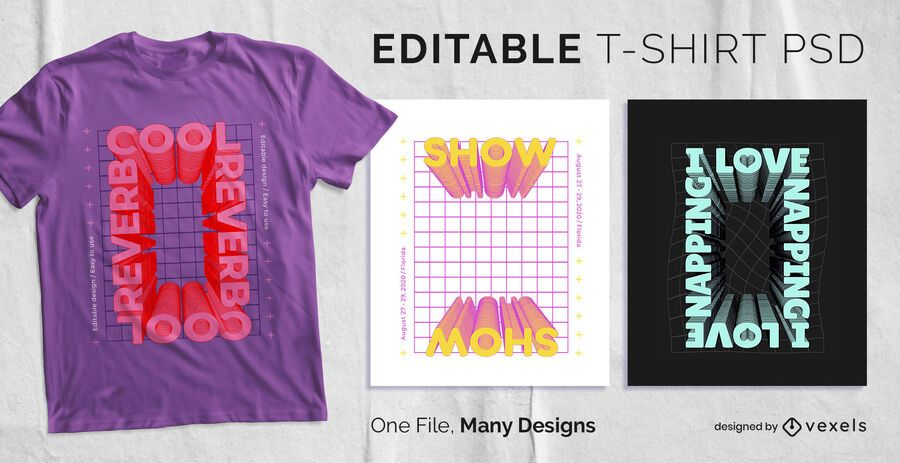 Rectangle Frame Text T-shirt Design PSD