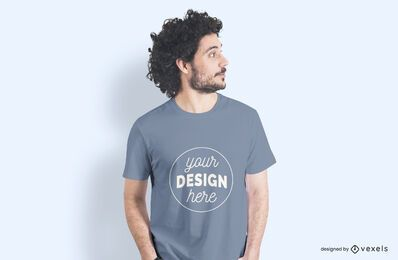 Male model side t-shirt mockup