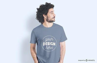 Maqueta de camiseta lateral modelo masculino
