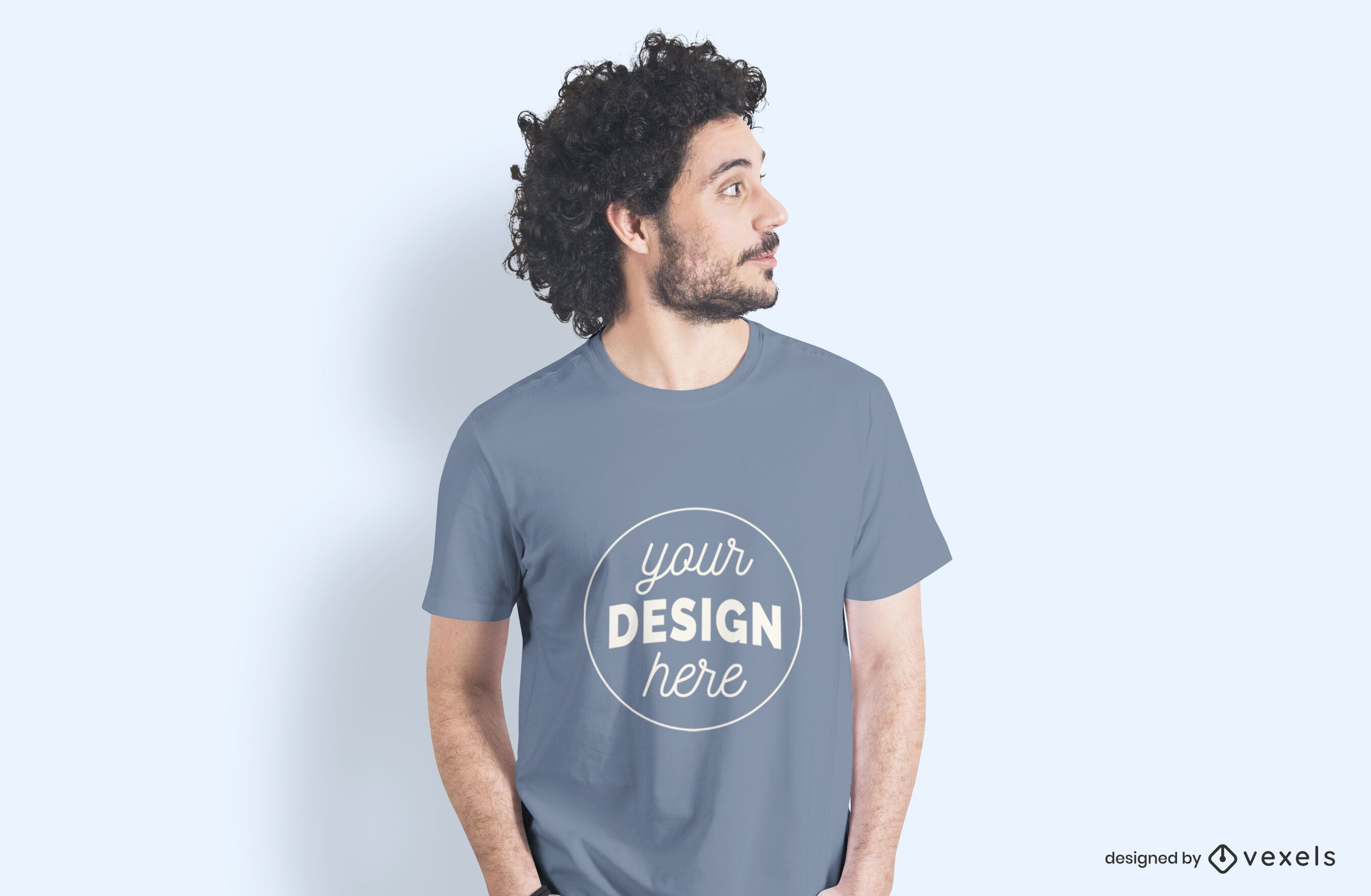 Male model side t-shirt mockup