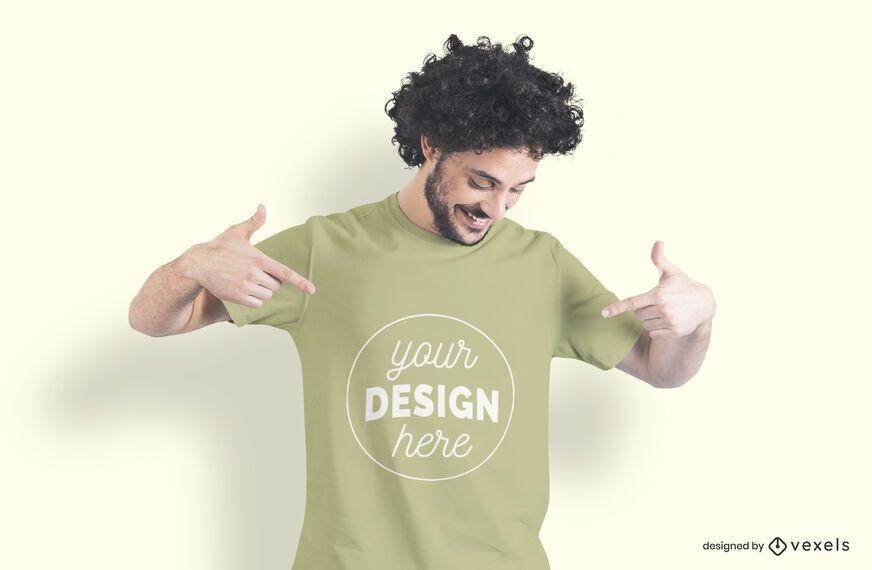 Man pointing t-shirt mockup