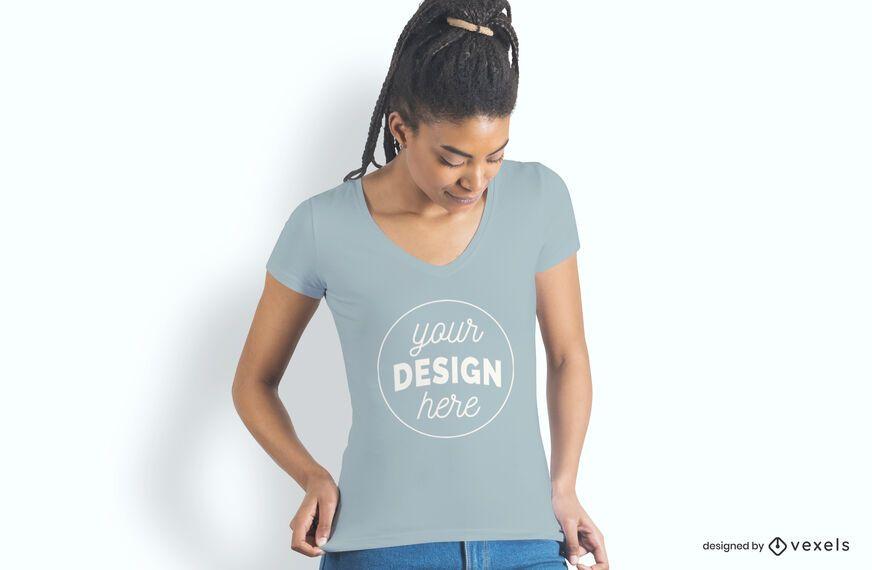 Female model t-shirt mockup design