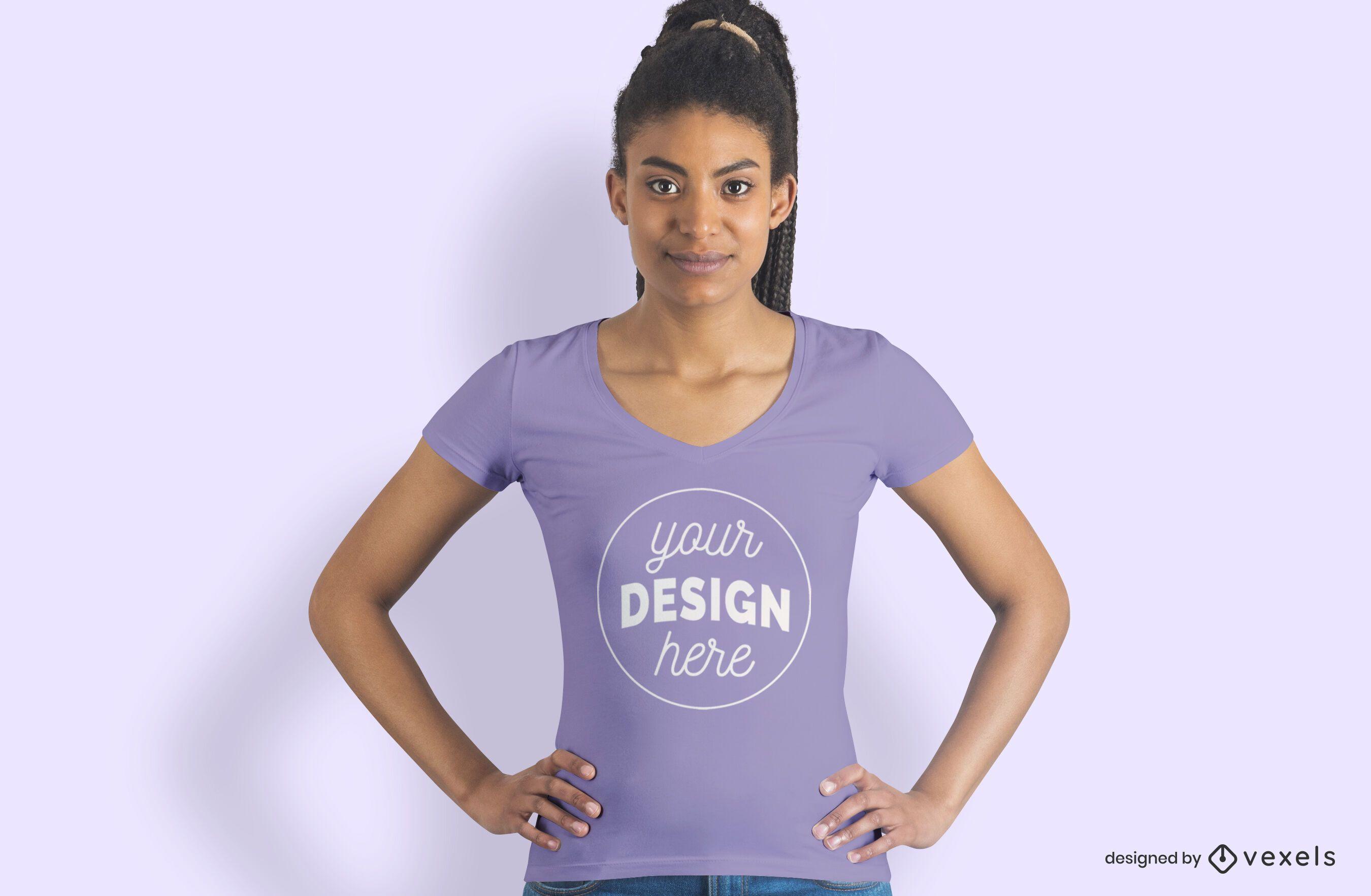 Female model hands on hip t-shirt mockup