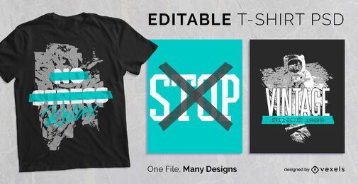 T-shirt escalável de citação de fita PSD