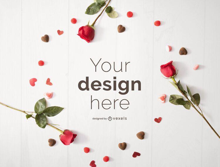 Valentine's day frame mockup design