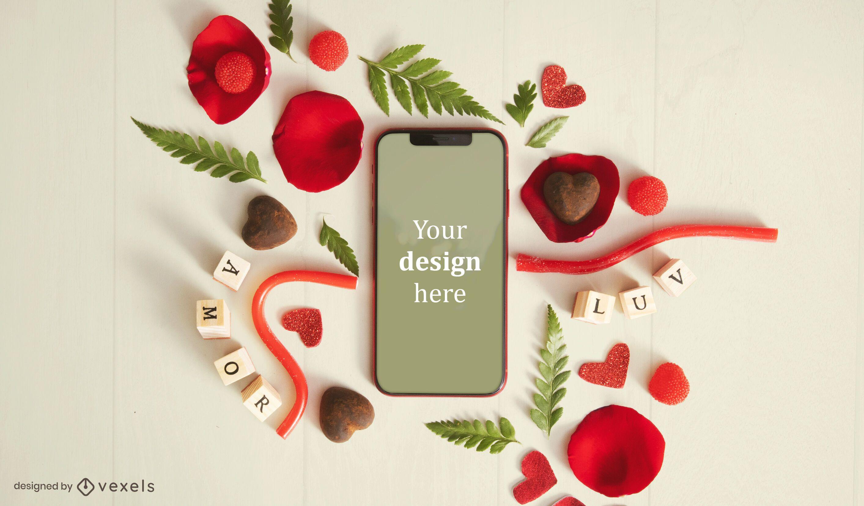 Diseño de maqueta de teléfono de san valentín