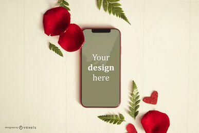 Composición de maqueta de teléfono de san valentín