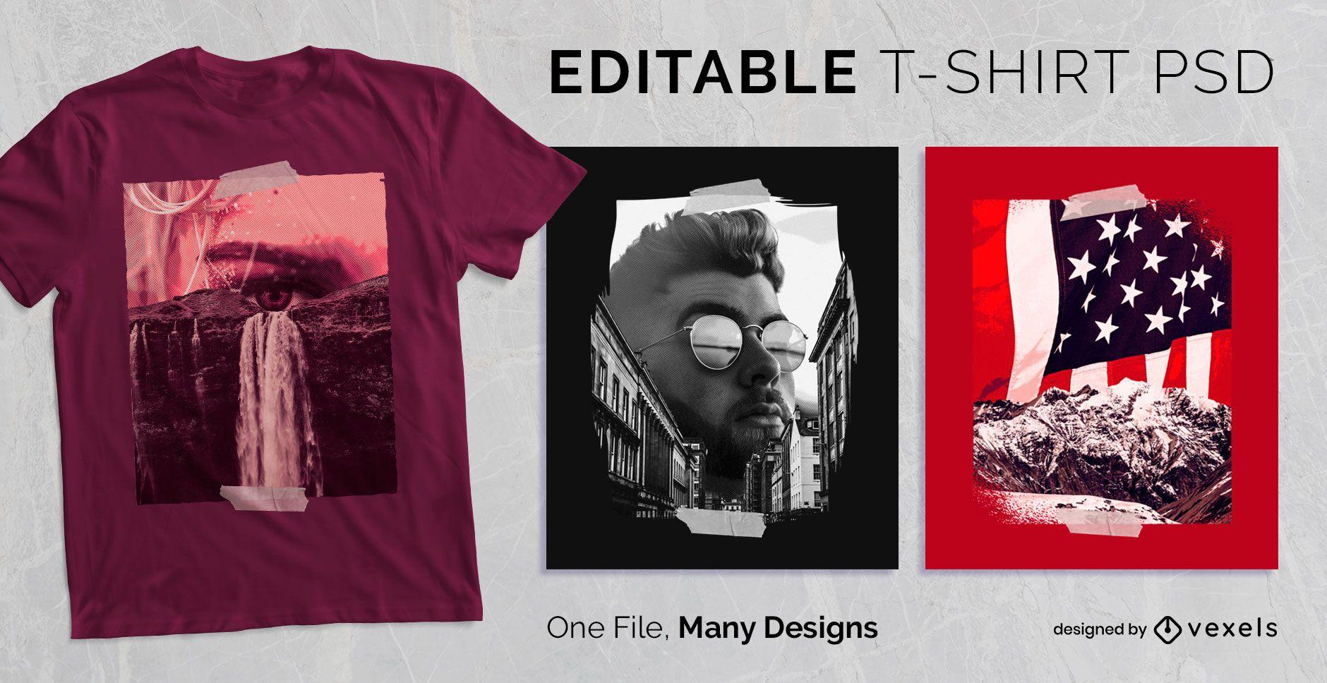 Camiseta Escalonável PSD para fotografia