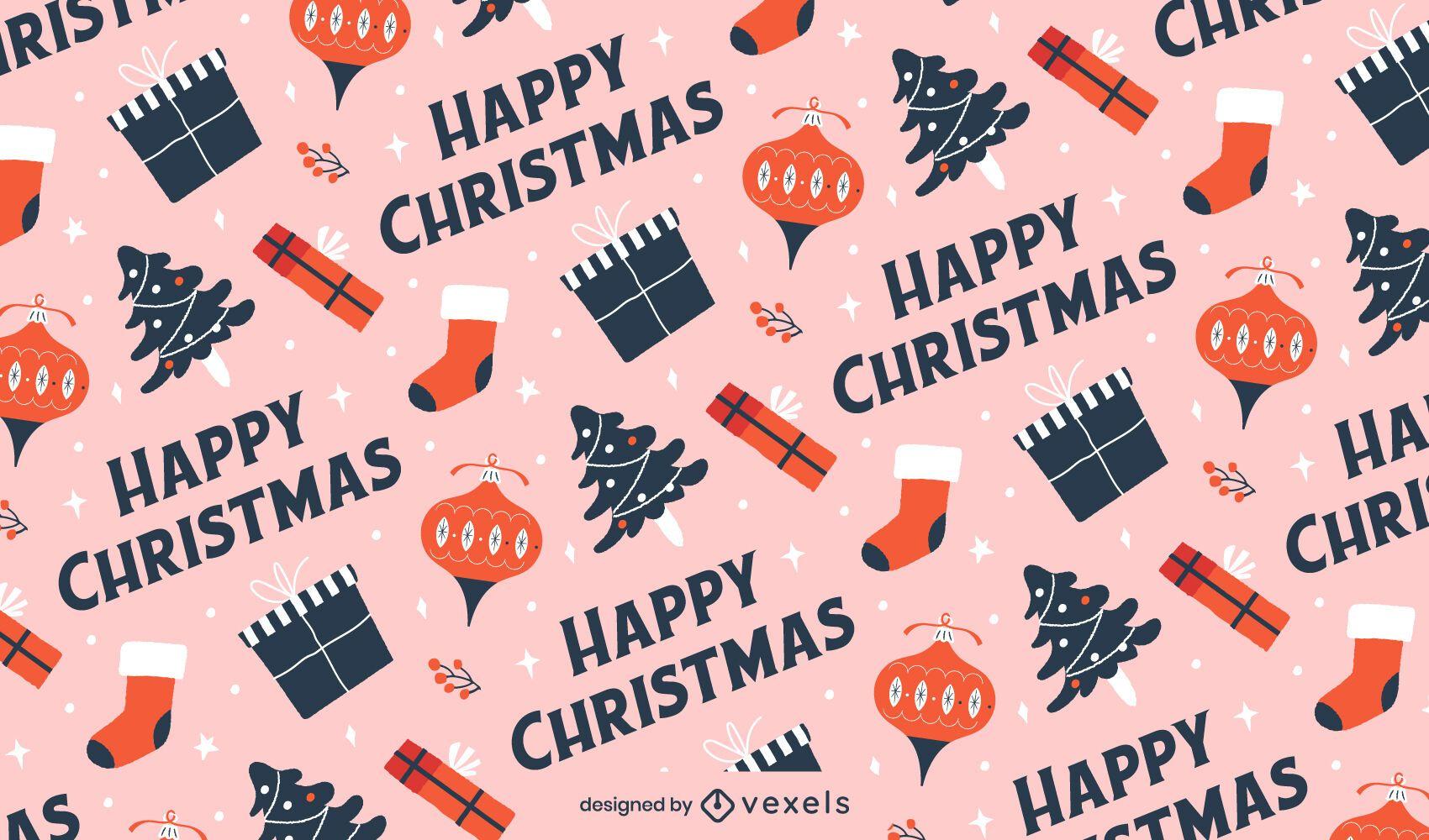 Happy christmas pattern design