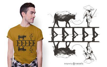Diseño de camiseta de cosecha de arroz.