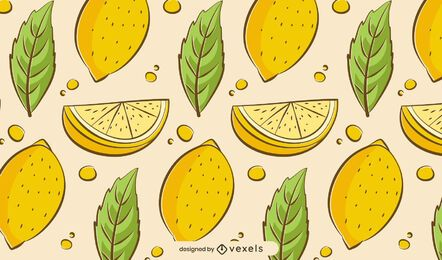 Hand drawn lemons pattern design