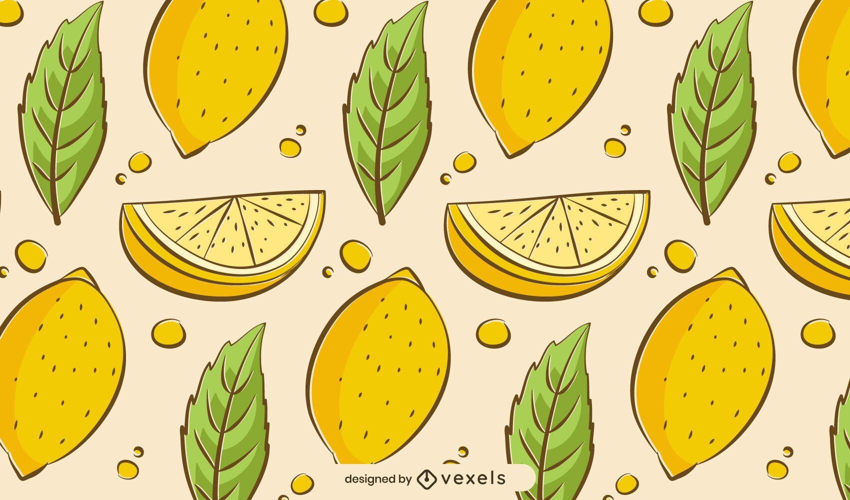 Hand drawn lemons pattern design