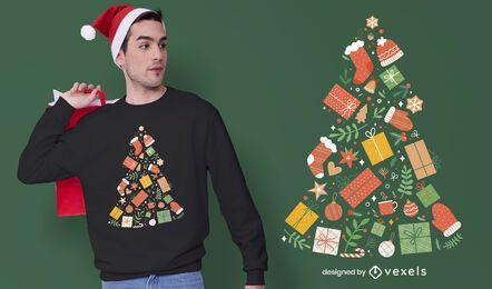 Diseño de camiseta de regalos de árbol de Navidad.