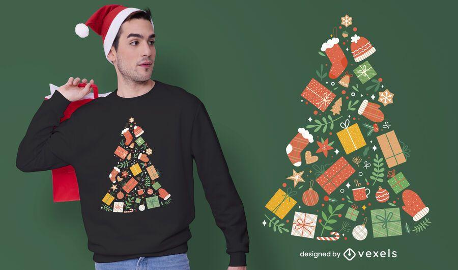 Christmas tree presents t-shirt design