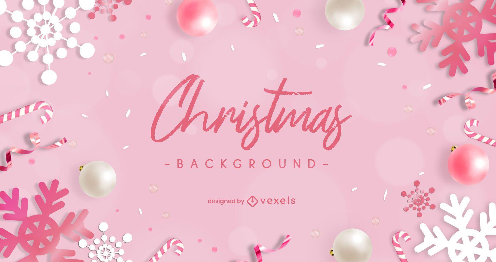 Diseño de fondo de navidad rosa