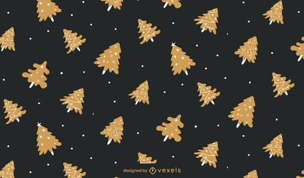 Christmas Golden Tree Pattern Design