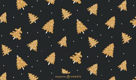 Diseño de patrón de árbol dorado de Navidad