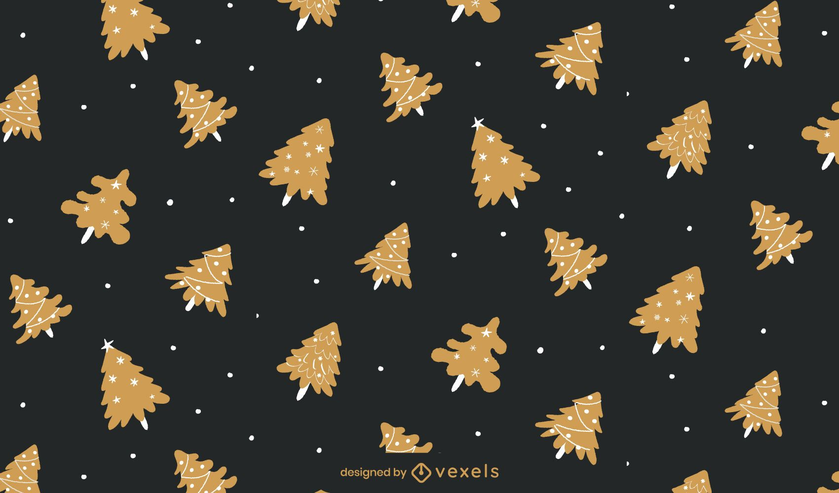Weihnachten Golden Tree Pattern Design