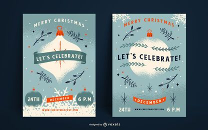 Let's celebrate christmas poster set