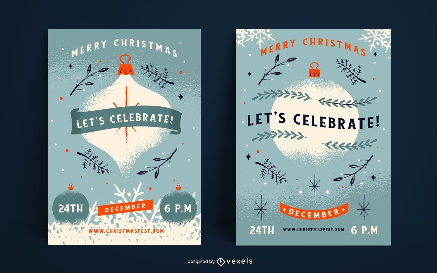 Celebremos el conjunto de carteles de navidad