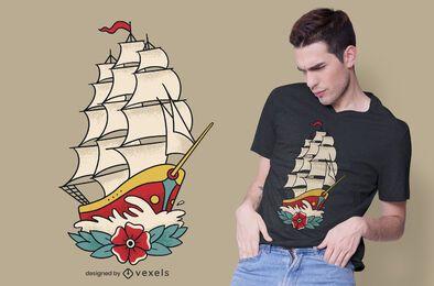 Design de t-shirt com tatuagem de navio à moda antiga