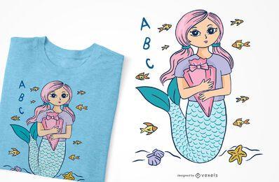 Diseño de camiseta de sirena escolar.