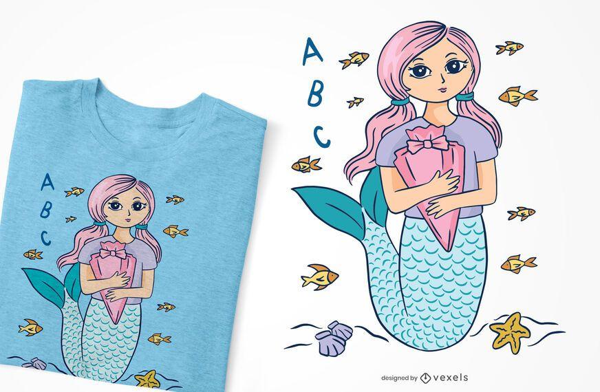 School mermaid t-shirt design