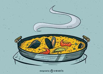 Desenho de ilustração de refeição de paella