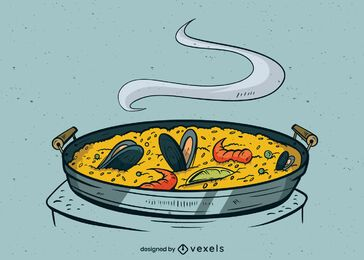 Paella meal illustration design