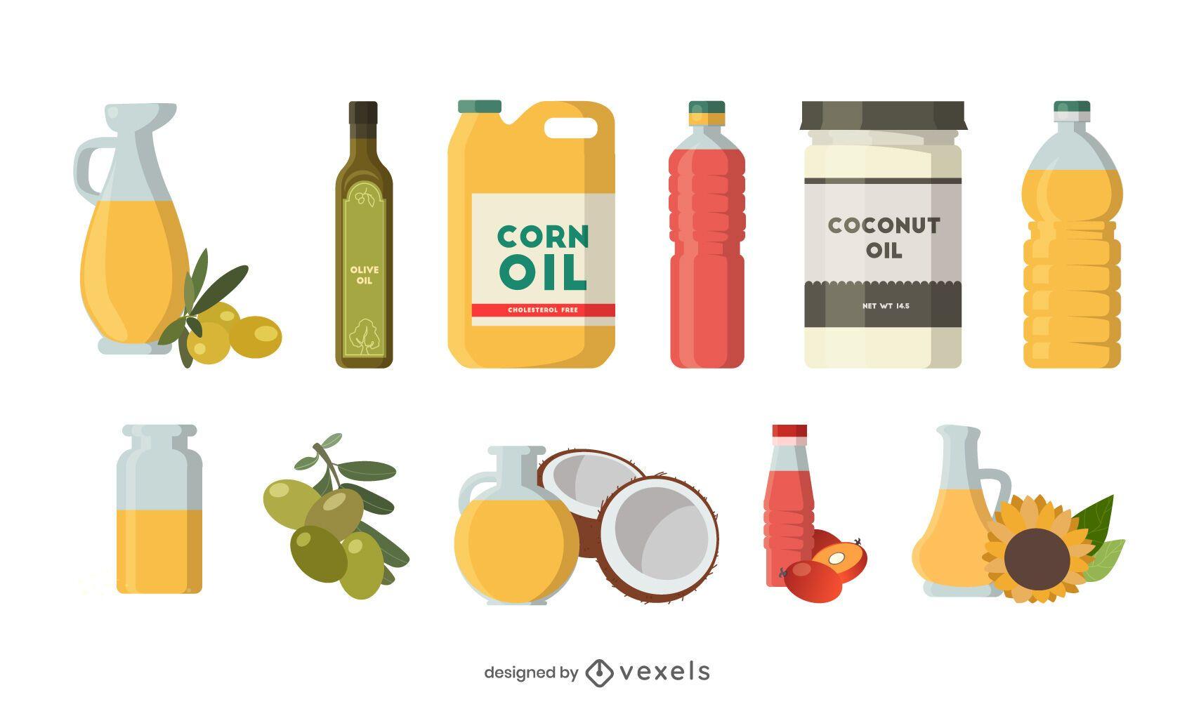 Conjunto plano de aceite de cocina