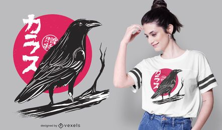 Design de camiseta de corvo lua vermelha