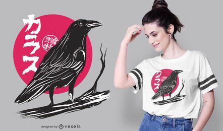 Diseño de camiseta de cuervo de luna roja