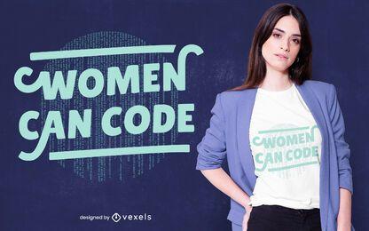 Diseño de camiseta de código de mujer.