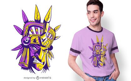 Diseño de camiseta de guerrero azteca